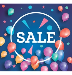 Sale poster on blue background with flying balloon vector image vector image