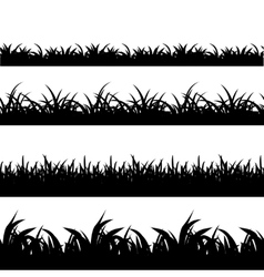 Seamless grass black silhouette set vector