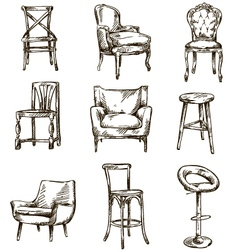 Set of hand drawn chairs vector image