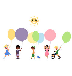 Set of happy children playing with balloons vector
