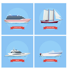 ships and boats set icon in a flat style vector image vector image