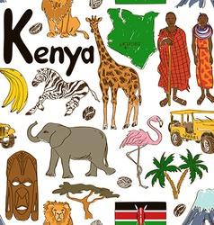 Sketch Kenya seamless pattern vector image