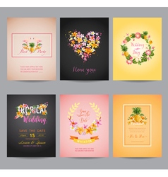 Tropical flowers card set - for wedding birthday vector
