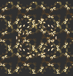 vintage seamless pattern on a colors with golden vector image