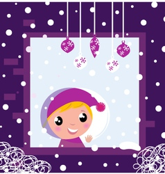 winter window fall vector image vector image