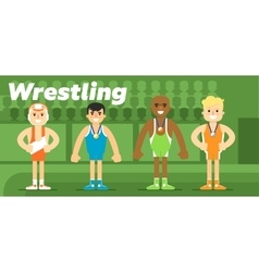 Wrestling team in the awarding vector image