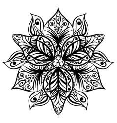zentangle style black flower sketch vector image vector image