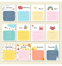 Calendar 2017 with cute animals insects and other vector