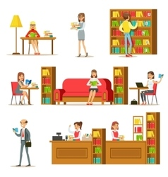 People Taking And Reading Books In Library Set Of vector image