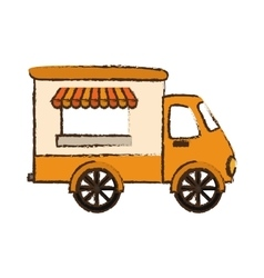 Fast food truck icon vector
