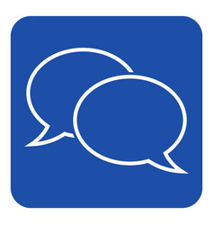 Blue white sign - two outline speech bubbles icon vector