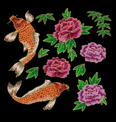 Embroidery with japanese carp and flowers vector