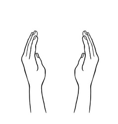 Two hands supporting concept giving hand sign vector