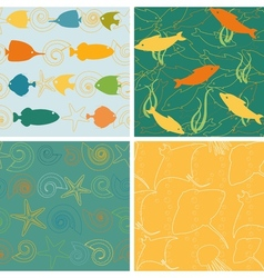 Sea life patterns collection 2 vector image