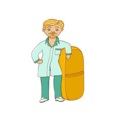 Flat male doctor nurse in medical clothing vector