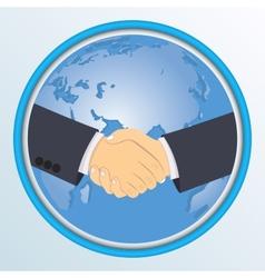 Handshake on the background of globe vector image