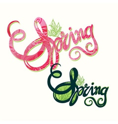 Handlettering spring inscription pattern vector image
