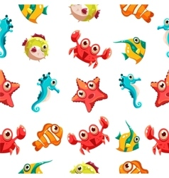 Kids seamless pattern with sea life vector