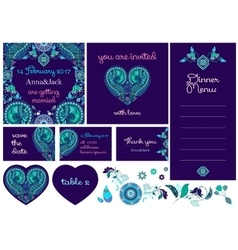 Wedding invitation cards in paisley style vector