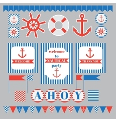 Set of vintage nautical party elements vector