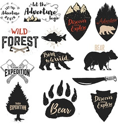 Expedition discover adventure labels and emblems vector