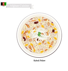 Kabuli palaw or afghanistan rice with lamb vector