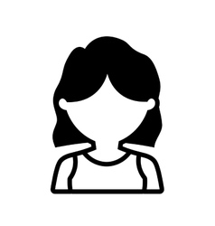 avatar woman shirt hair style outline vector image