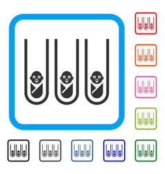 Baby cloning test-tubes framed icon vector