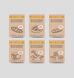Bakery products cards with bread vector