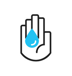 black line hand symbol holding blue water drop vector image vector image
