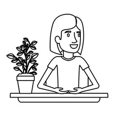 Black silhouette half body woman assistant in desk vector