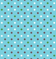blue background fabric with white green brown dots vector image vector image