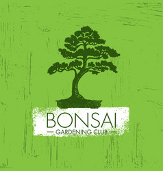 bonsai gardening club creative design vector image