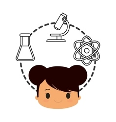 cartoon school girl chemistry laboratory items vector image
