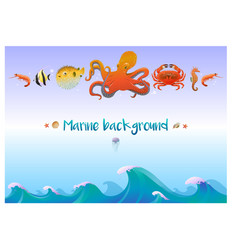 Cartoon sea fauna template vector