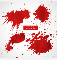 collection of red ink splatter vector image vector image
