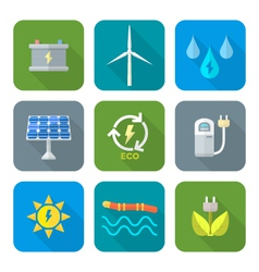 color flat style recycle ecology energy icons vector image vector image