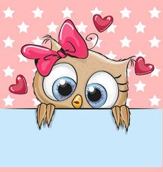 Cute cartoon owl girl is holding a placard vector