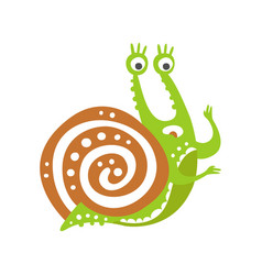 cute scared snail character funny mollusk vector image