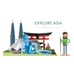 Explore asia banner with famous attractions vector