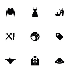 fashion 9 icons set vector image