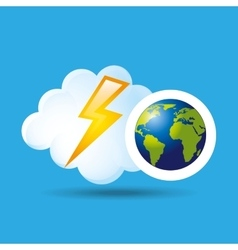 Globe earth weather meteorology lightning vector
