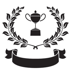 Graphic trophy olive leaf and ribbon vector