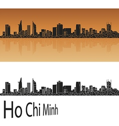 Ho chi minh skyline in orange vector