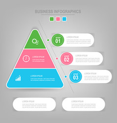 infographics template of three steps on squares vector image