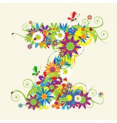 letter Z floral design vector image vector image