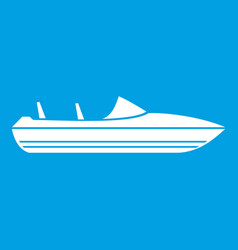 Little powerboat icon white vector