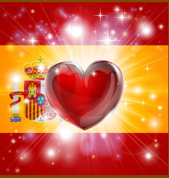 Love spain flag heart background vector