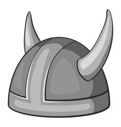 Metal combat helmet icon gray monochrome style vector