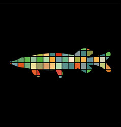 pike fish mosaic color silhouette aquatic animal vector image